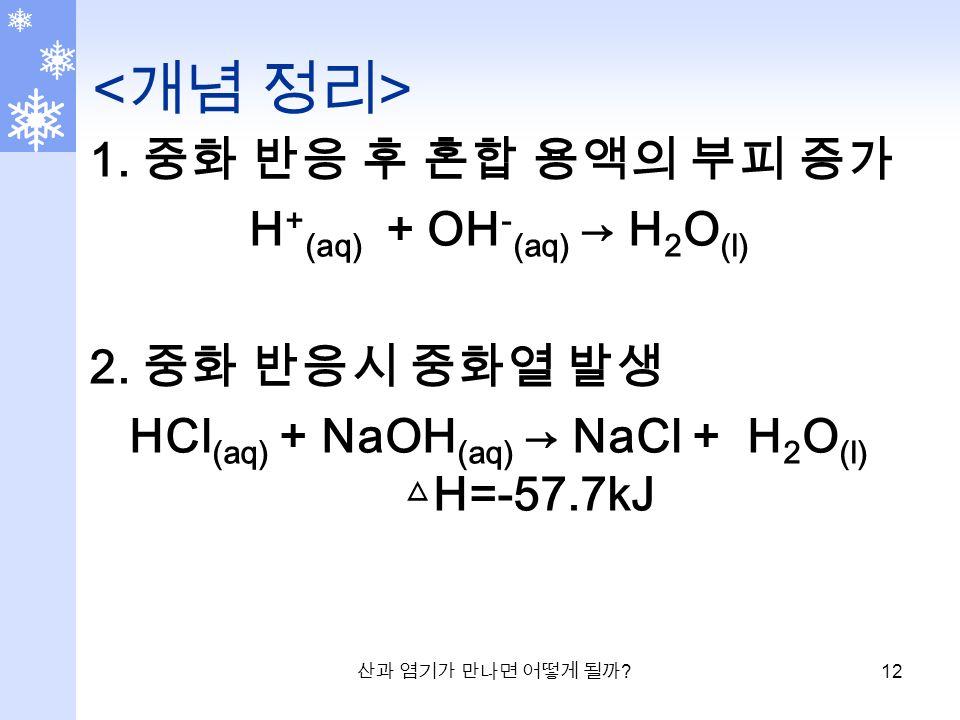 산과 염기가 만나면 어떻게 될까 . 12 1. 중화 반응 후 혼합 용액의 부피 증가 H + (aq) + OH - (aq) → H 2 O (l) 2.