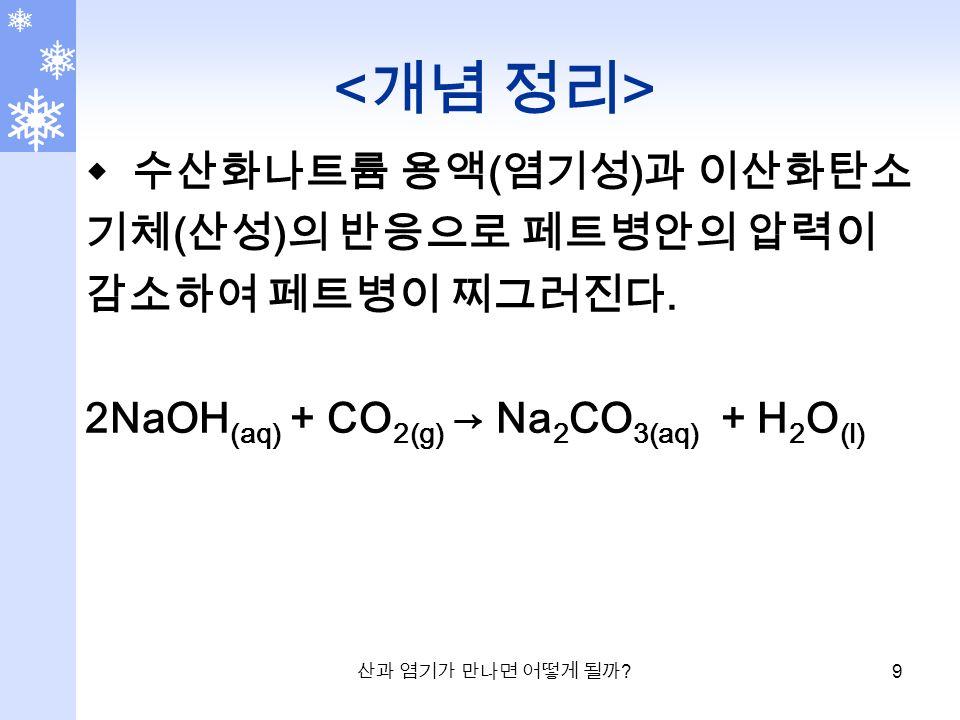 산과 염기가 만나면 어떻게 될까 . 9  수산화나트륨 용액 ( 염기성 ) 과 이산화탄소 기체 ( 산성 ) 의 반응으로 페트병안의 압력이 감소하여 페트병이 찌그러진다.