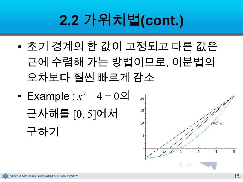 15 2.2 가위치법 (cont.) 초기 경계의 한 값이 고정되고 다른 값은 근에 수렴해 가는 방법이므로, 이분법의 오차보다 훨씬 빠르게 감소 Example : x 2 – 4 = 0 의 근사해를 [0, 5] 에서 구하기