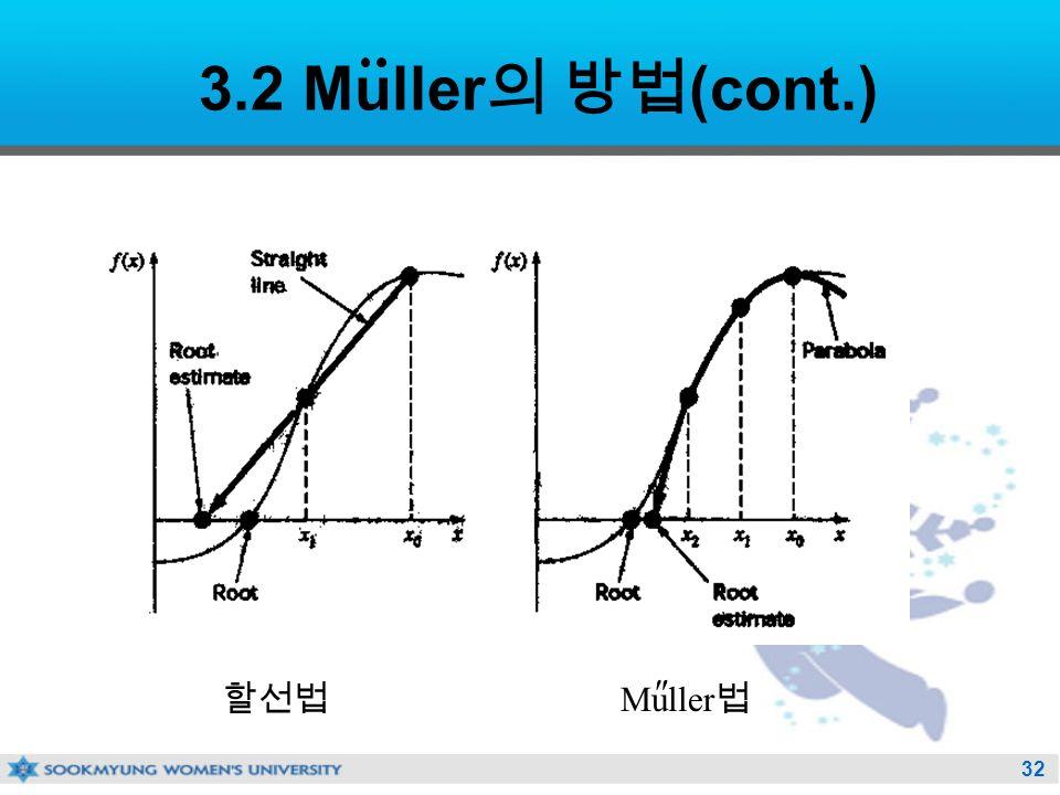 32 3.2 Muller 의 방법 (cont.) 할선법 Muller 법 