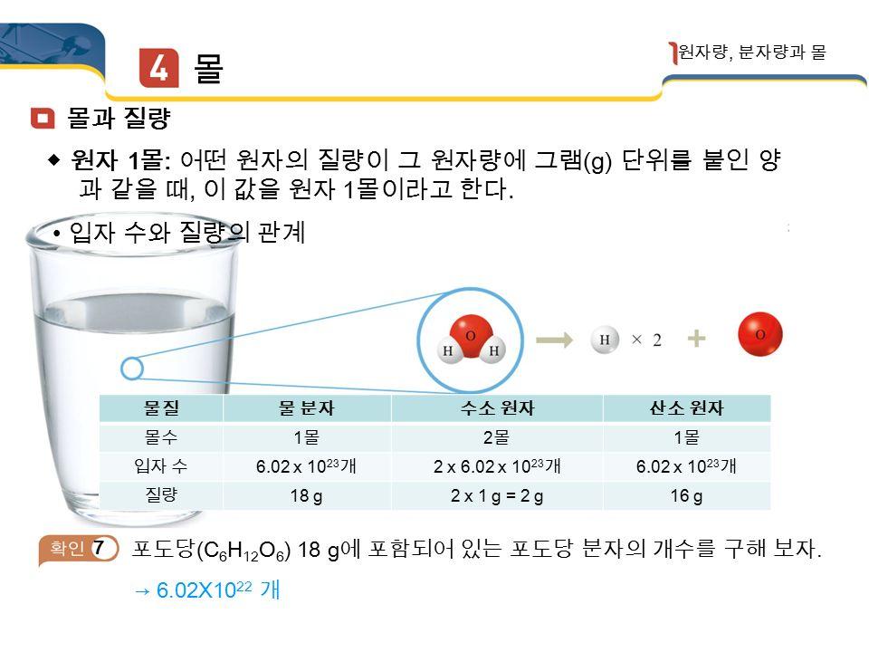 몰 원자량, 분자량과 몰 (1) 몰 : 원자와 같이 매우 작은 입자의 수량을 나타내기 위한 단위 (2) 아보가드로수 : 1 몰은 6.02X10 23 개 입자의 집단이며, 이 수를 아보가드로 수라고 한다.