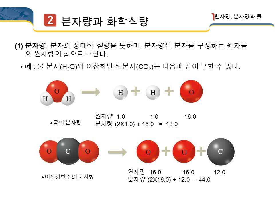 (2) 원자의 상대적 질량 : 질량수가 12 인 탄소 원자 ( 12 C) 의 질량을 12.00 으로 정하고, 이 값과 비교한 다른 원자의 질량비로 나타낸다.