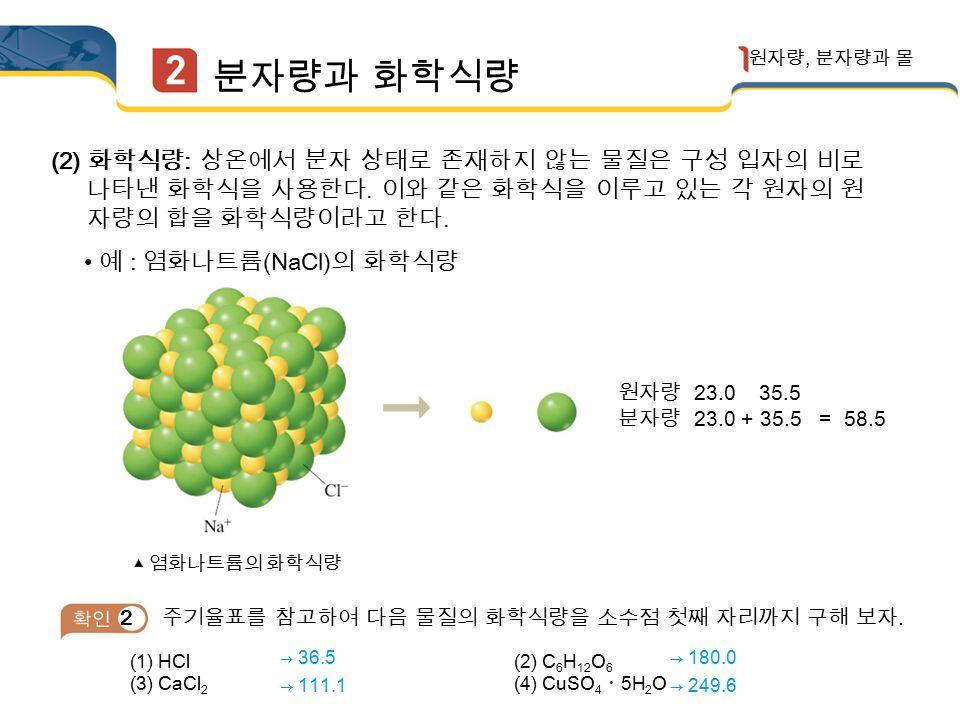 분자량과 화학식량 원자량, 분자량과 몰 (1) 분자량 : 분자의 상대적 질량을 뜻하며, 분자량은 분자를 구성하는 원자들 의 원자량의 합으로 구한다.