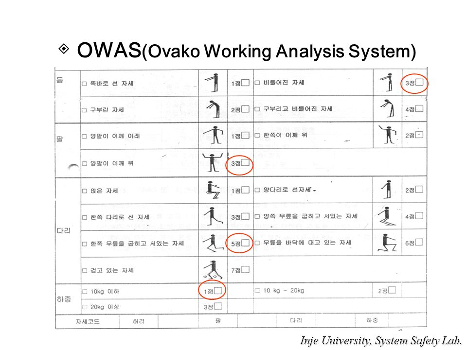 ◈ OWAS (Ovako Working Analysis System) Inje University, System Safety Lab.