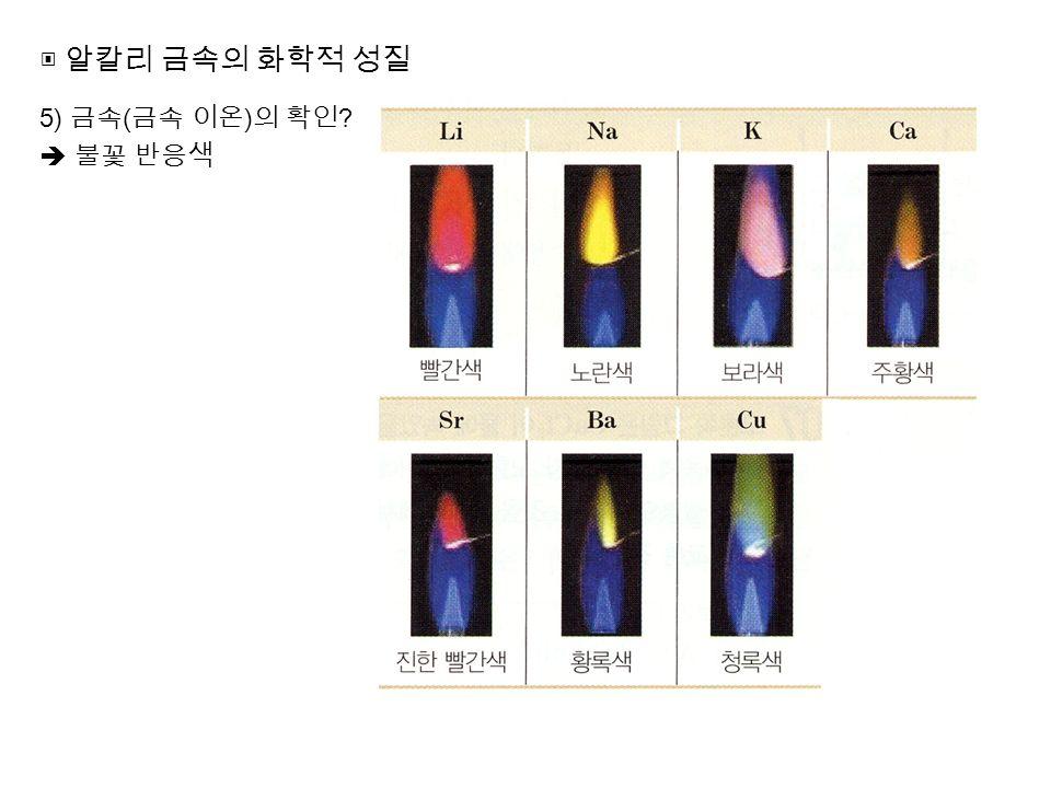 ▣ 알칼리 금속의 화학적 성질 5) 금속 ( 금속 이온 ) 의 확인  불꽃 반응색