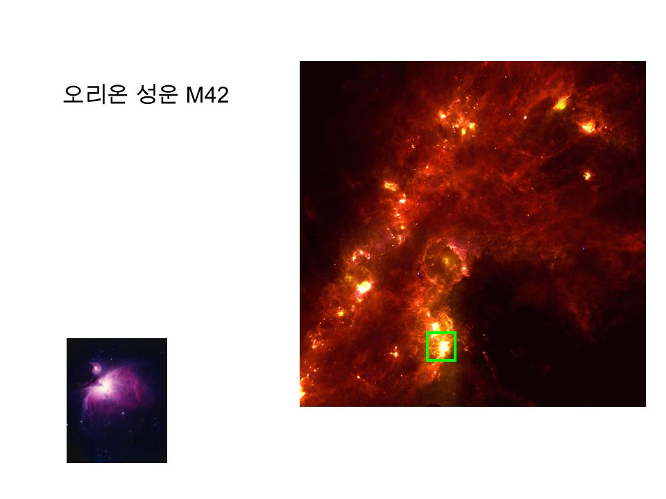 항성 생성 영역 오리온 성운 = nearest massive star forming region > 3000 low and intermediate young stars + 10 high massive young stars