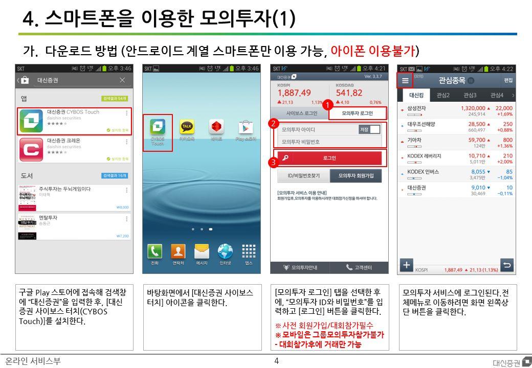 4 온라인 서비스부 4. 스마트폰을 이용한 모의투자(1) 가.