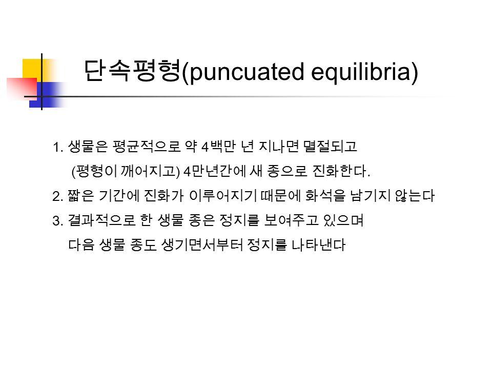 단속평형 (puncuated equilibria) 1. 생물은 평균적으로 약 4 백만 년 지나면 멸절되고 ( 평형이 깨어지고 ) 4 만년간에 새 종으로 진화한다.