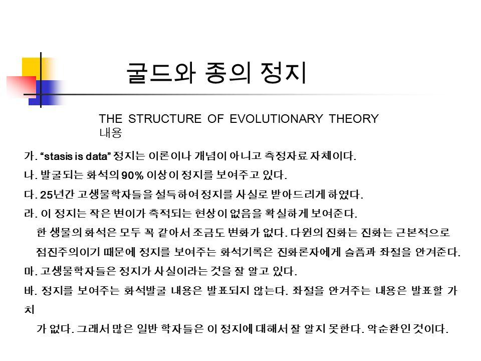 가. stasis is data 정지는 이론이나 개념이 아니고 측정자료 자체이다. 나.