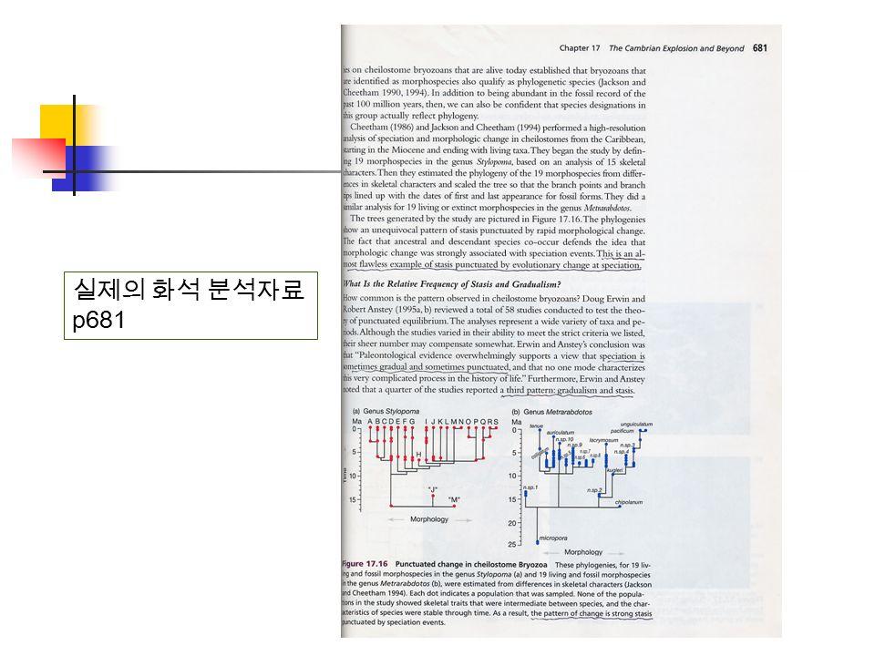 실제의 화석 분석자료 p681