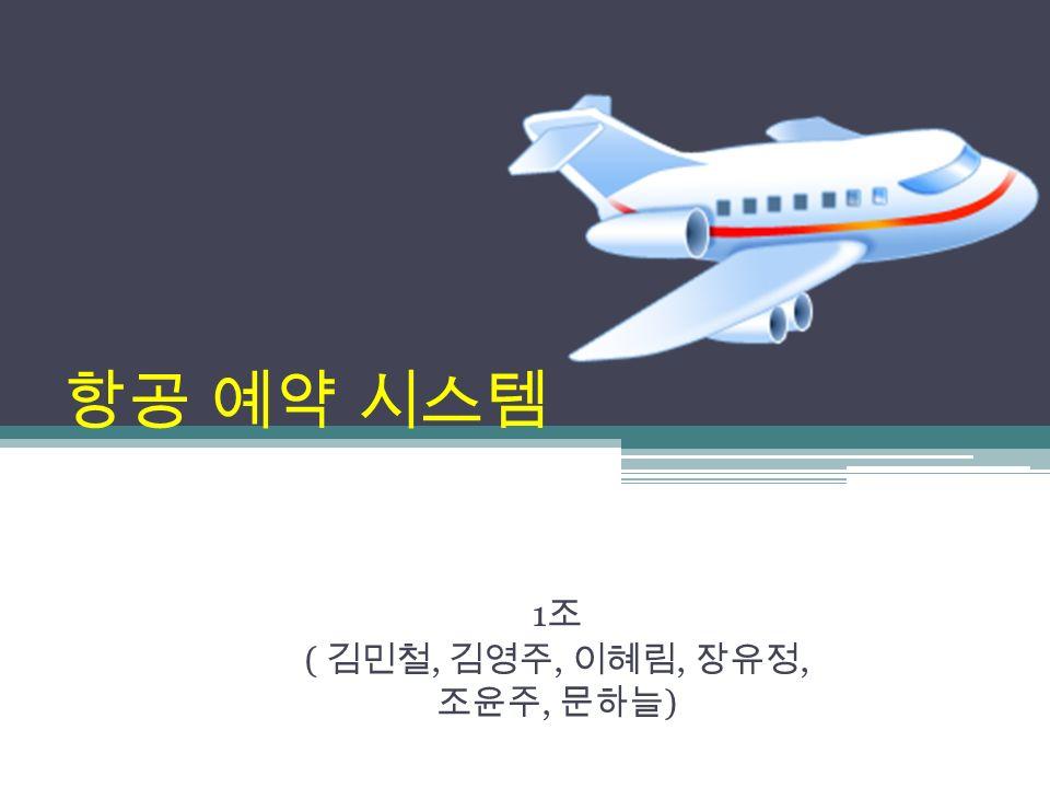 항공 예약 시스템 1 조 ( 김민철, 김영주, 이혜림, 장유정, 조윤주, 문하늘 )