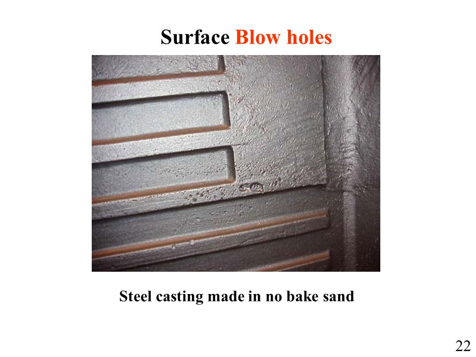 Surface Blow holes Steel casting made in no bake sand 22