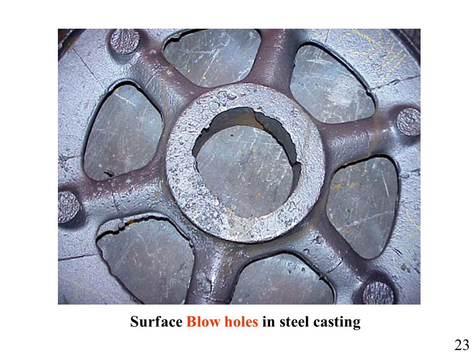 Surface Blow holes in steel casting 23