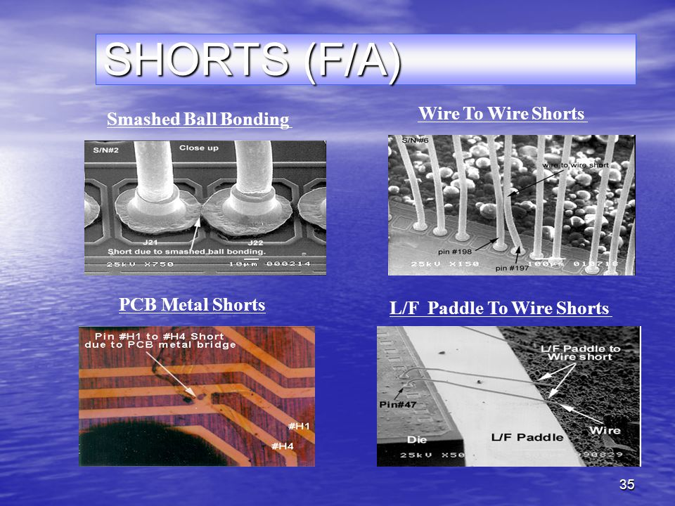 35 SHORTS (F/A) Smashed Ball Bonding Wire To Wire Shorts PCB Metal Shorts L/F Paddle To Wire Shorts