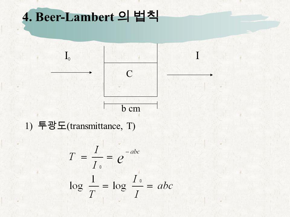 4. Beer-Lambert 의 법칙 I 0 I C b cm 1) 투광도 (transmittance, T)