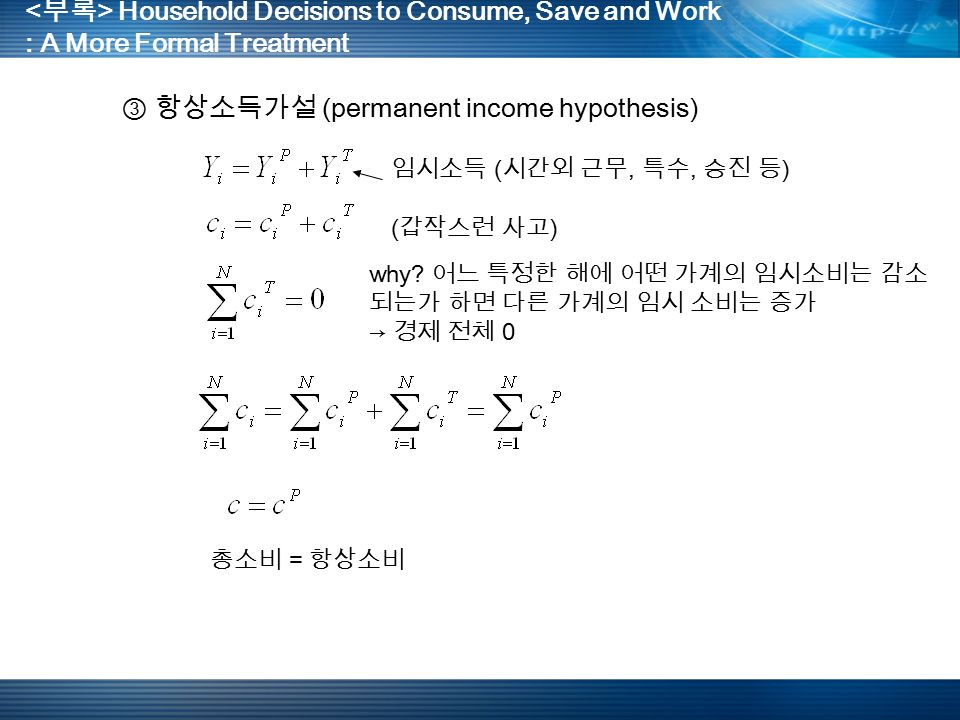 Household Decisions to Consume, Save and Work : A More Formal Treatment ③ 항상소득가설 (permanent income hypothesis) 임시소득 ( 시간외 근무, 특수, 승진 등 ) ( 갑작스런 사고 ) why.