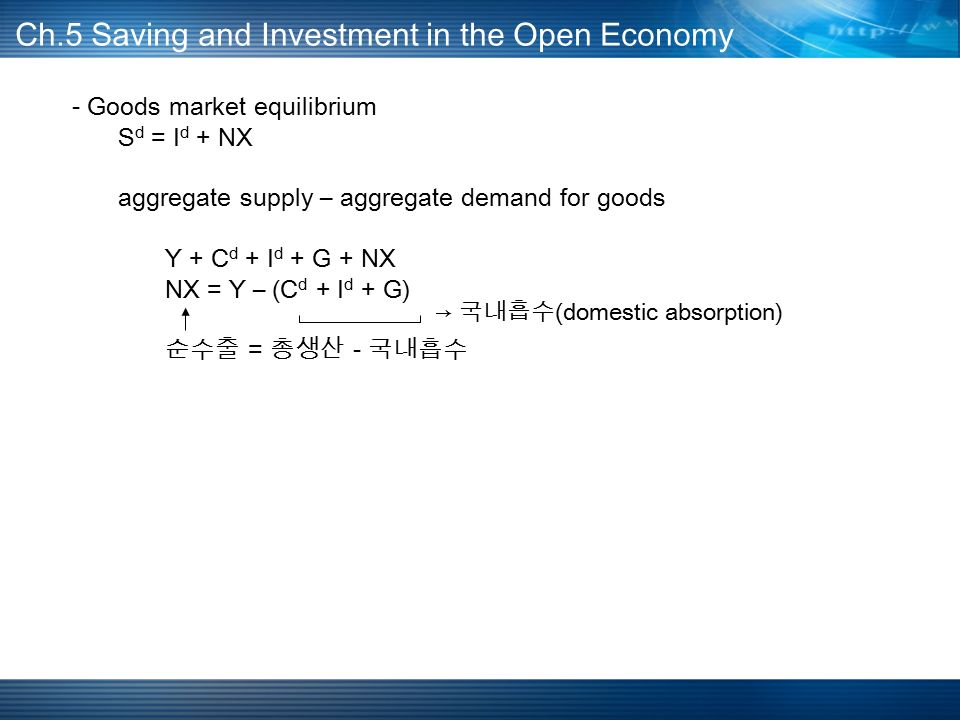 - Goods market equilibrium S d = I d + NX aggregate supply – aggregate demand for goods Y + C d + I d + G + NX NX = Y – (C d + I d + G) 순수출 = 총생산 - 국내흡수 Ch.5 Saving and Investment in the Open Economy → 국내흡수 (domestic absorption)