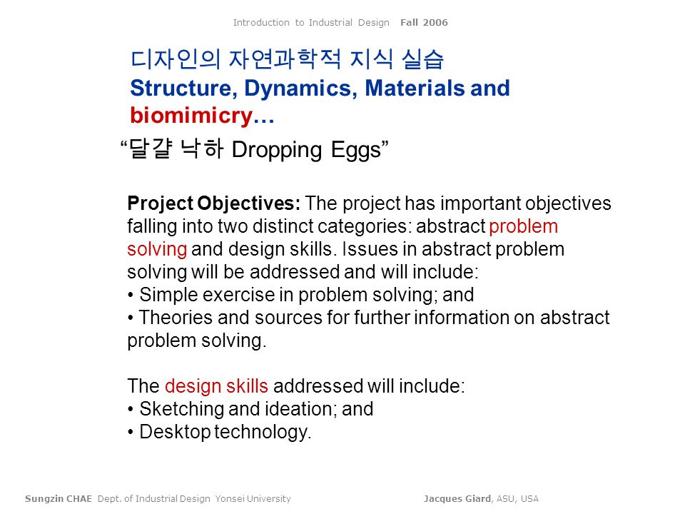 Introduction to Industrial Design Fall 2006 Sungzin CHAE Dept.