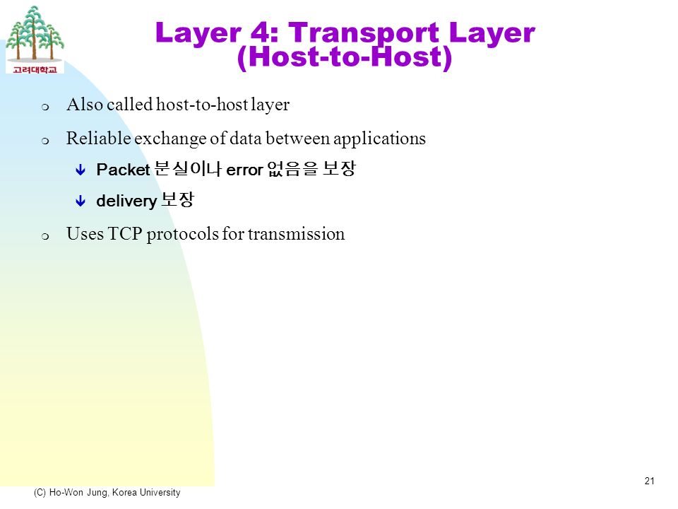 (C) Ho-Won Jung, Korea University 21 Layer 4: Transport Layer (Host-to-Host) m Also called host-to-host layer m Reliable exchange of data between applications  Packet 분실이나 error 없음을 보장  delivery 보장 m Uses TCP protocols for transmission