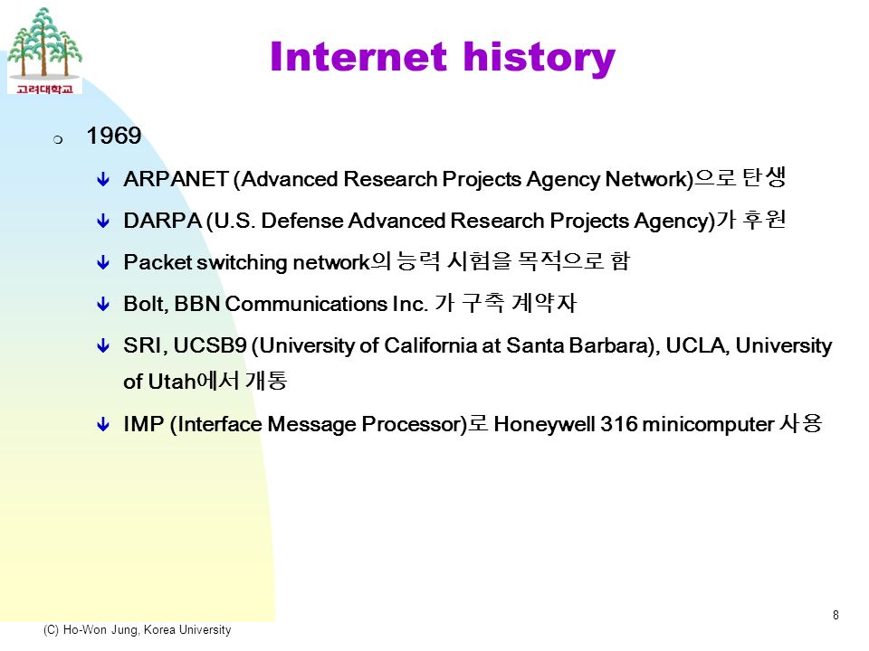 (C) Ho-Won Jung, Korea University 8 Internet history  1969  ARPANET (Advanced Research Projects Agency Network) 으로 탄생  DARPA (U.S.