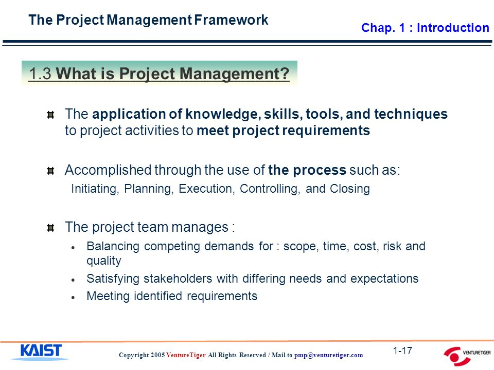 The Project Management Framework Copyright 2005 VentureTiger All Rights Reserved / Mail to What is Project Management.