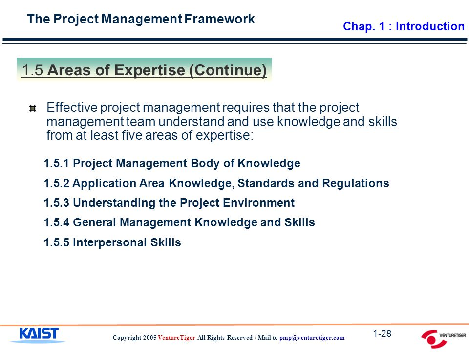 The Project Management Framework Copyright 2005 VentureTiger All Rights Reserved / Mail to Areas of Expertise (Continue) Effective project management requires that the project management team understand and use knowledge and skills from at least five areas of expertise: Project Management Body of Knowledge Application Area Knowledge, Standards and Regulations Understanding the Project Environment General Management Knowledge and Skills Interpersonal Skills Chap.