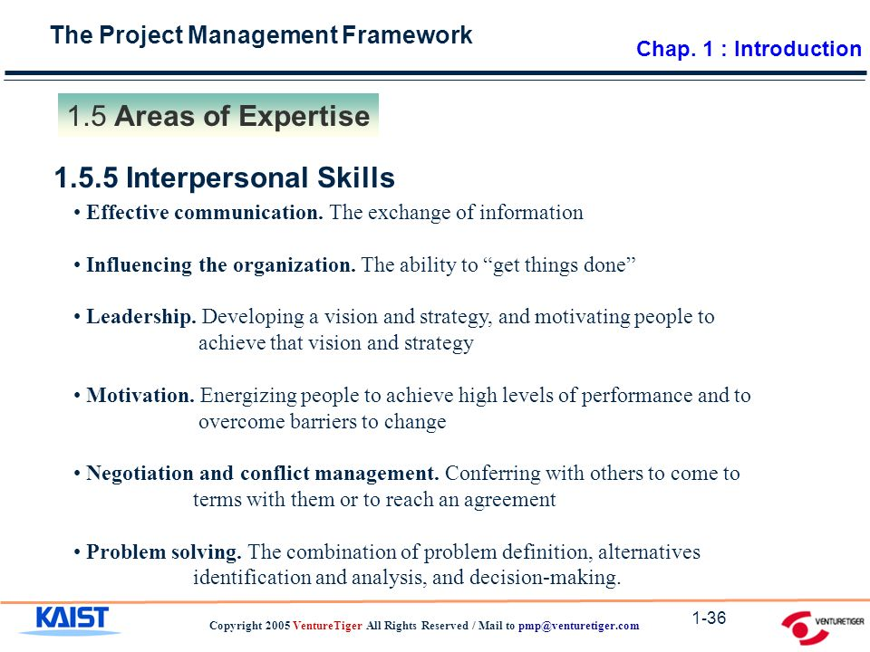 The Project Management Framework Copyright 2005 VentureTiger All Rights Reserved / Mail to Areas of Expertise Interpersonal Skills Effective communication.