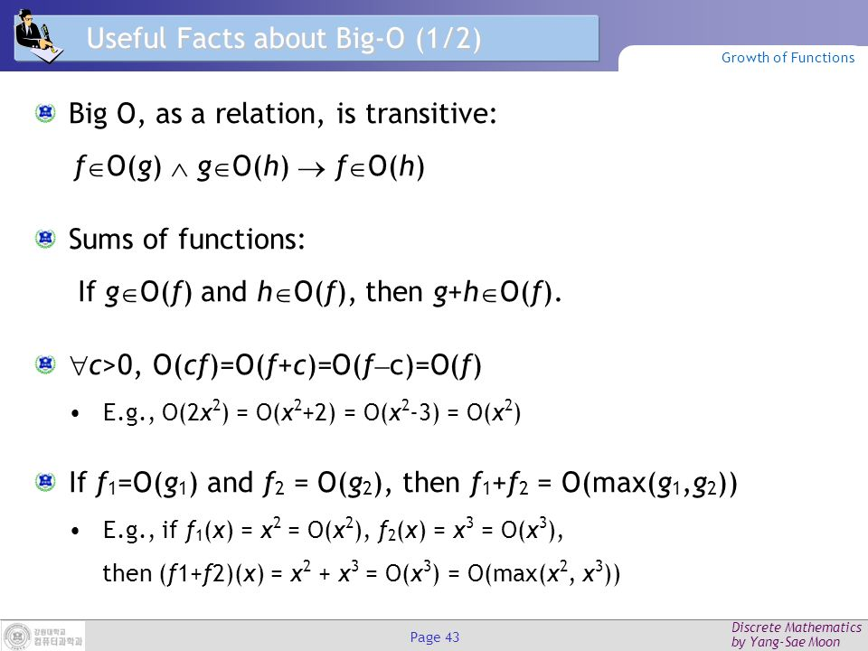 Discrete Mathematics by Yang-Sae Moon Page 42 Examples of Big-O (2/2) f(n) = n.