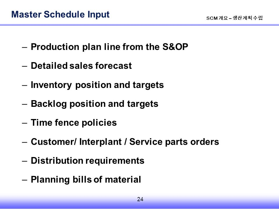 24 SCM 개요 – 생산계획 수립 –Production plan line from the S&OP –Detailed sales forecast –Inventory position and targets –Backlog position and targets –Time fence policies –Customer/ Interplant / Service parts orders –Distribution requirements –Planning bills of material Master Schedule Input