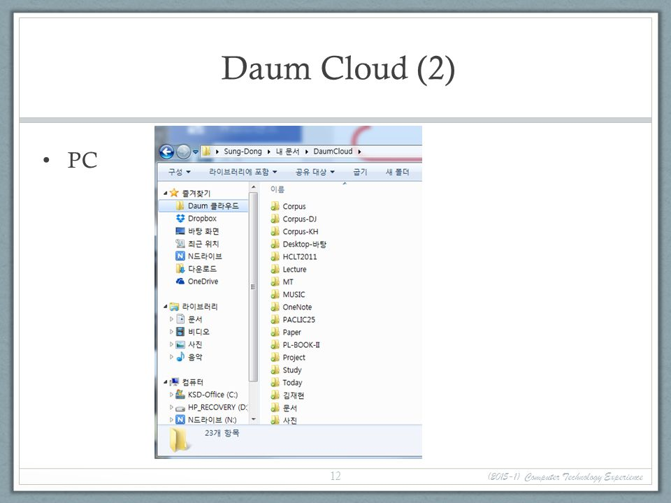 Daum Cloud (2) PC (2015-1) Computer Technology Experience 12