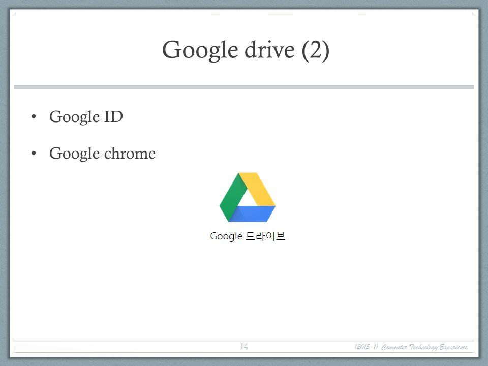 Google drive (2) Google ID Google chrome (2015-1) Computer Technology Experience 14