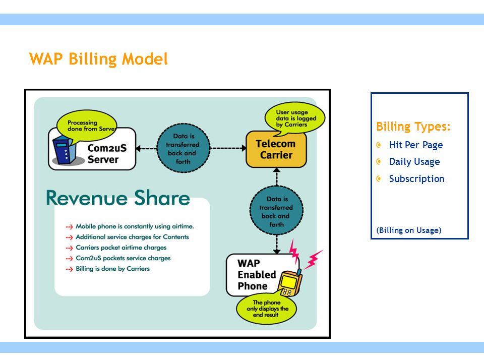 Billing Types: Hit Per Page Daily Usage Subscription (Billing on Usage) WAP Billing Model