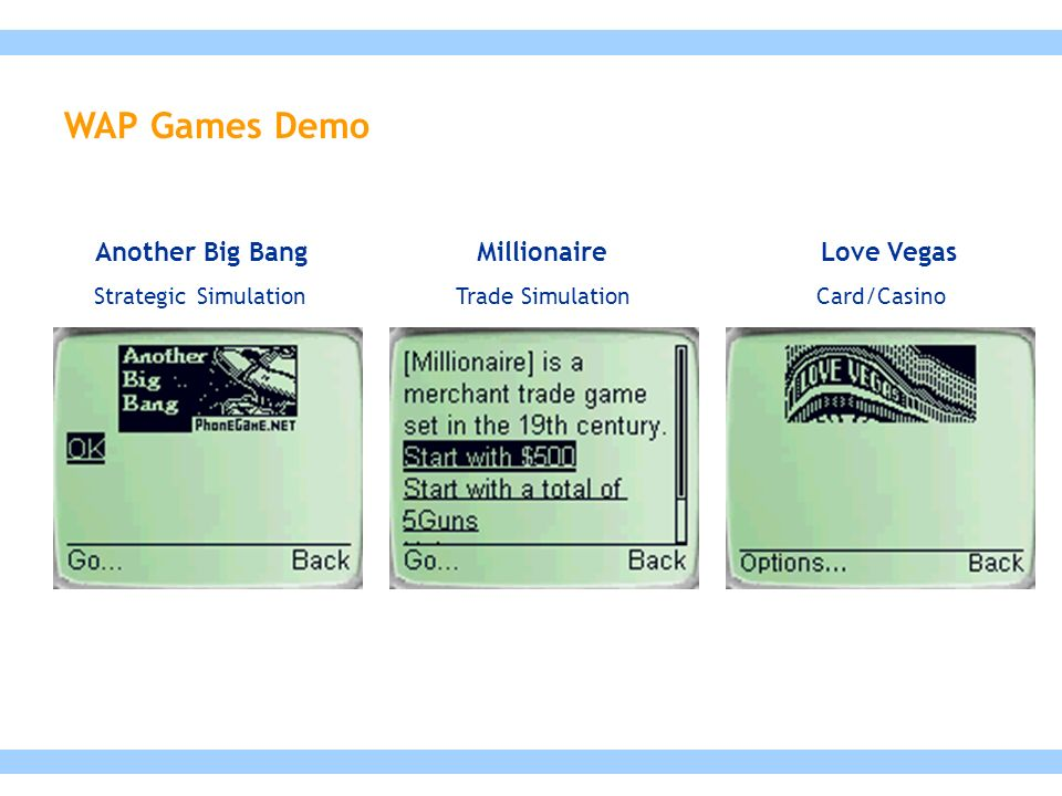 Millionaire Trade Simulation Love Vegas Card/Casino Another Big Bang Strategic Simulation WAP Games Demo