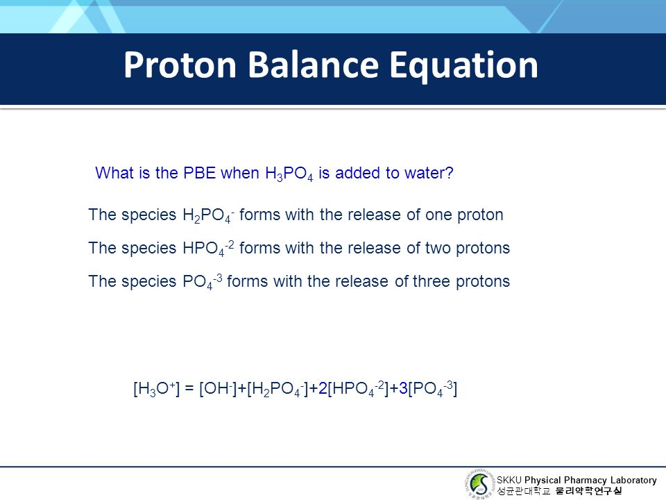 SKKU Physical Pharmacy Laboratory 성균관대학교 물리약학연구실 Proton Balance Equation What is the PBE when H 3 PO 4 is added to water.