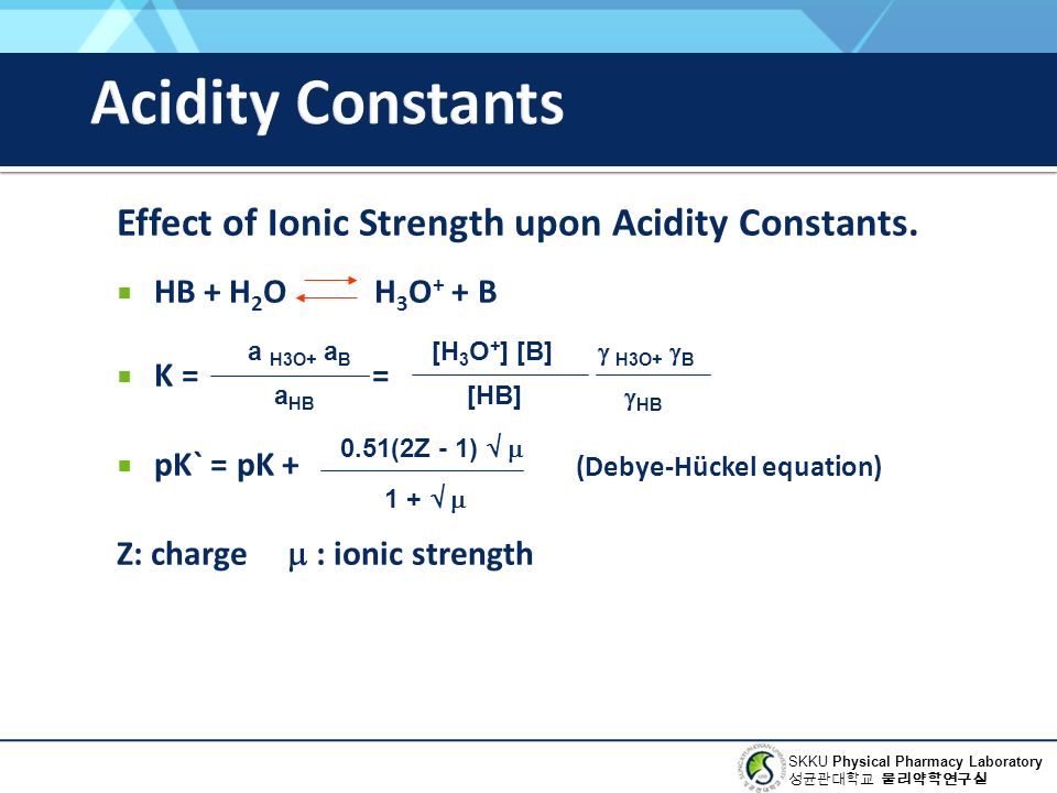 SKKU Physical Pharmacy Laboratory 성균관대학교 물리약학연구실 Effect of Ionic Strength upon Acidity Constants.