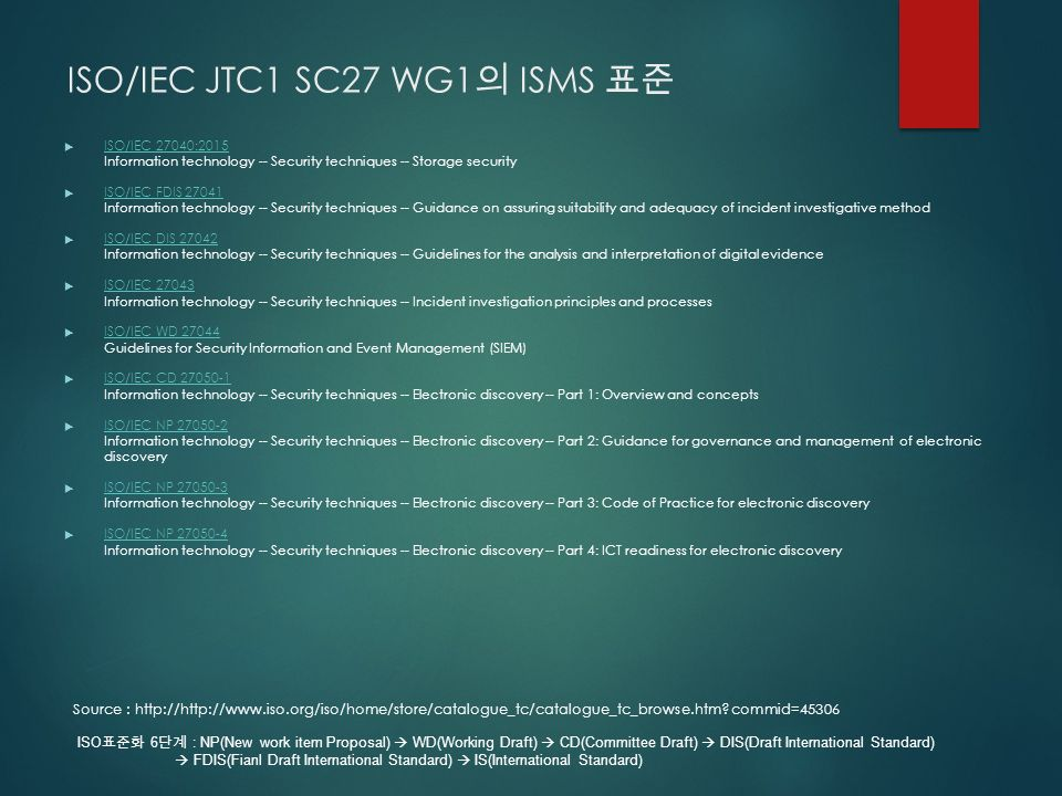 ISO/IEC JTC1 SC27 WG1 의 ISMS 표준  ISO/IEC 27040:2015 Information technology -- Security techniques -- Storage security ISO/IEC 27040:2015  ISO/IEC FDIS Information technology -- Security techniques -- Guidance on assuring suitability and adequacy of incident investigative method ISO/IEC FDIS  ISO/IEC DIS Information technology -- Security techniques -- Guidelines for the analysis and interpretation of digital evidence ISO/IEC DIS  ISO/IEC Information technology -- Security techniques -- Incident investigation principles and processes ISO/IEC  ISO/IEC WD Guidelines for Security Information and Event Management (SIEM) ISO/IEC WD  ISO/IEC CD Information technology -- Security techniques -- Electronic discovery -- Part 1: Overview and concepts ISO/IEC CD  ISO/IEC NP Information technology -- Security techniques -- Electronic discovery -- Part 2: Guidance for governance and management of electronic discovery ISO/IEC NP  ISO/IEC NP Information technology -- Security techniques -- Electronic discovery -- Part 3: Code of Practice for electronic discovery ISO/IEC NP  ISO/IEC NP Information technology -- Security techniques -- Electronic discovery -- Part 4: ICT readiness for electronic discovery ISO/IEC NP Source :   commid=45306 ISO 표준화 6 단계 : NP(New work item Proposal)  WD(Working Draft)  CD(Committee Draft)  DIS(Draft International Standard)  FDIS(Fianl Draft International Standard)  IS(International Standard)