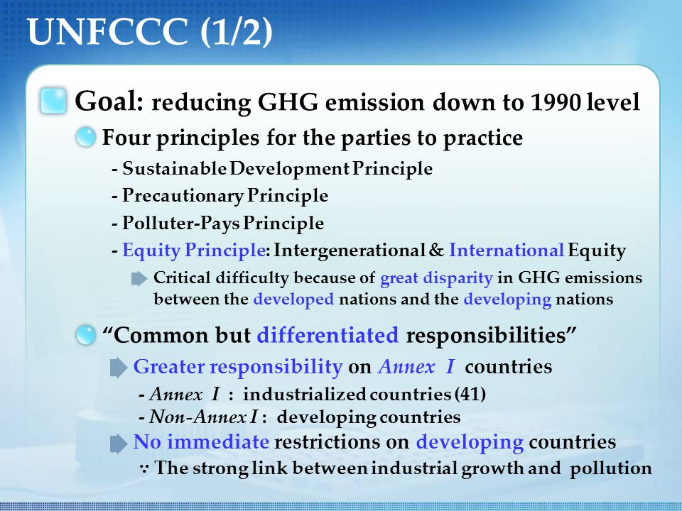UNFCCC (1/2) Goal: reducing GHG emission down to 1990 level Common but differentiated responsibilities Four principles for the parties to practice - Sustainable Development Principle - Precautionary Principle - Polluter-Pays Principle - Equity Principle: Intergenerational & International Equity Critical difficulty because of great disparity in GHG emissions between the developed nations and the developing nations - Annex I : industrialized countries (41) - Non-Annex I : developing countries No immediate restrictions on developing countries ∵ The strong link between industrial growth and pollution Greater responsibility on Annex I countries
