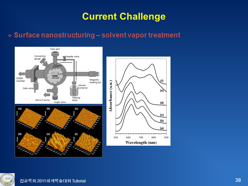 38 진공학회 2011 하계학술대회 Tutorial Current Challenge  Surface nanostructuring – solvent vapor treatment