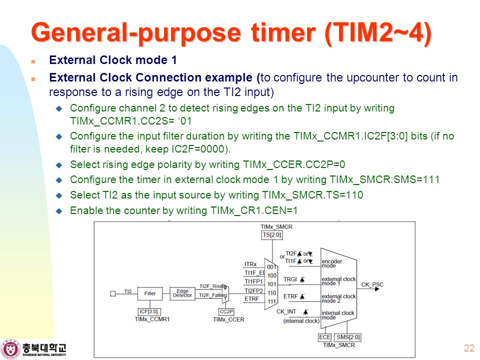 General-purpose timer (TIM2~4) External Clock mode 1 External Clock Connection example (to configure the upcounter to count in response to a rising edge on the TI2 input)  Configure channel 2 to detect rising edges on the TI2 input by writing TIMx_CCMR1.CC2S= '01  Configure the input filter duration by writing the TIMx_CCMR1.IC2F[3:0] bits (if no filter is needed, keep IC2F=0000).