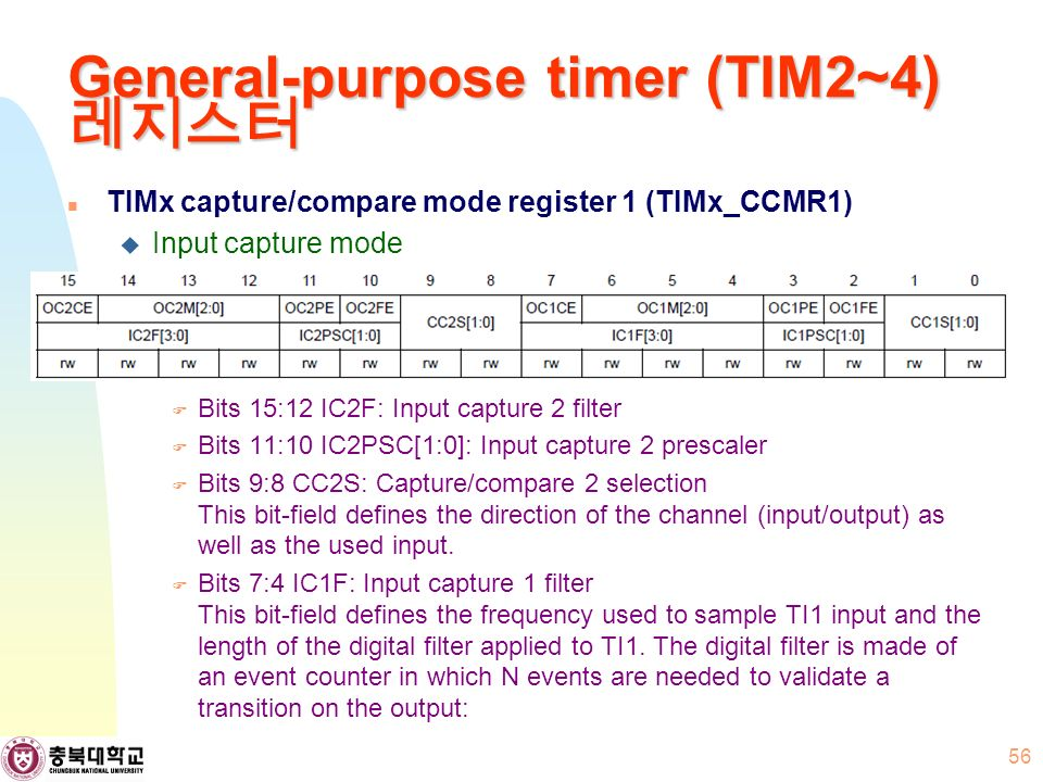 General-purpose timer (TIM2~4) 레지스터 TIMx capture/compare mode register 1 (TIMx_CCMR1)  Input capture mode  Bits 15:12 IC2F: Input capture 2 filter  Bits 11:10 IC2PSC[1:0]: Input capture 2 prescaler  Bits 9:8 CC2S: Capture/compare 2 selection This bit-field defines the direction of the channel (input/output) as well as the used input.
