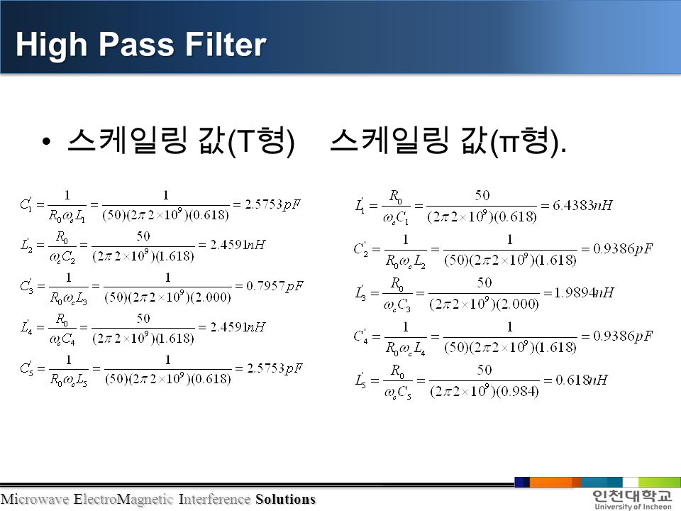 Microwave ElectroMagnetic Interference Solutions 스케일링 값 (T 형 ) 스케일링 값 (π 형 ). High Pass Filter