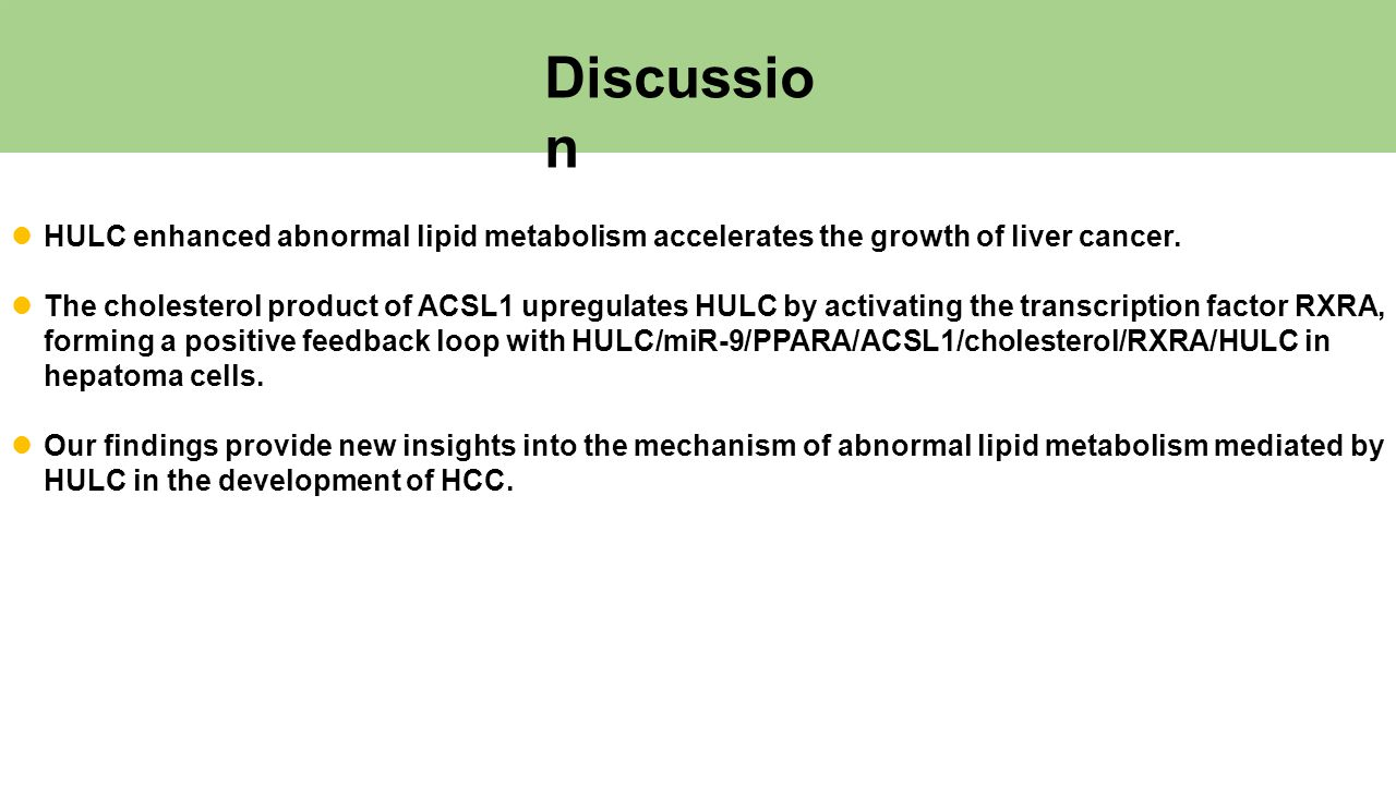 Discussio n HULC enhanced abnormal lipid metabolism accelerates the growth of liver cancer.