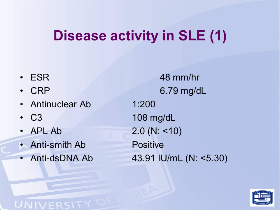 Disease activity in SLE (1) ESR48 mm/hr CRP6.79 mg/dL Antinuclear Ab1:200 C3108 mg/dL APL Ab2.0 (N: <10) Anti-smith AbPositive Anti-dsDNA Ab43.91 IU/mL (N: <5.30)