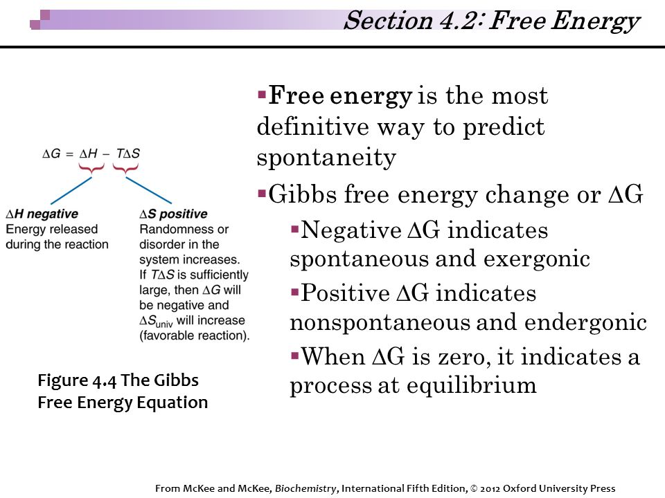 Section 4.2: Free Energy  Free energy is the most definitive way to predict spontaneity  Gibbs free energy change or  G  Negative  G indicates spontaneous and exergonic  Positive  G indicates nonspontaneous and endergonic  When  G is zero, it indicates a process at equilibrium Figure 4.4 The Gibbs Free Energy Equation From McKee and McKee, Biochemistry, International Fifth Edition, © 2012 Oxford University Press