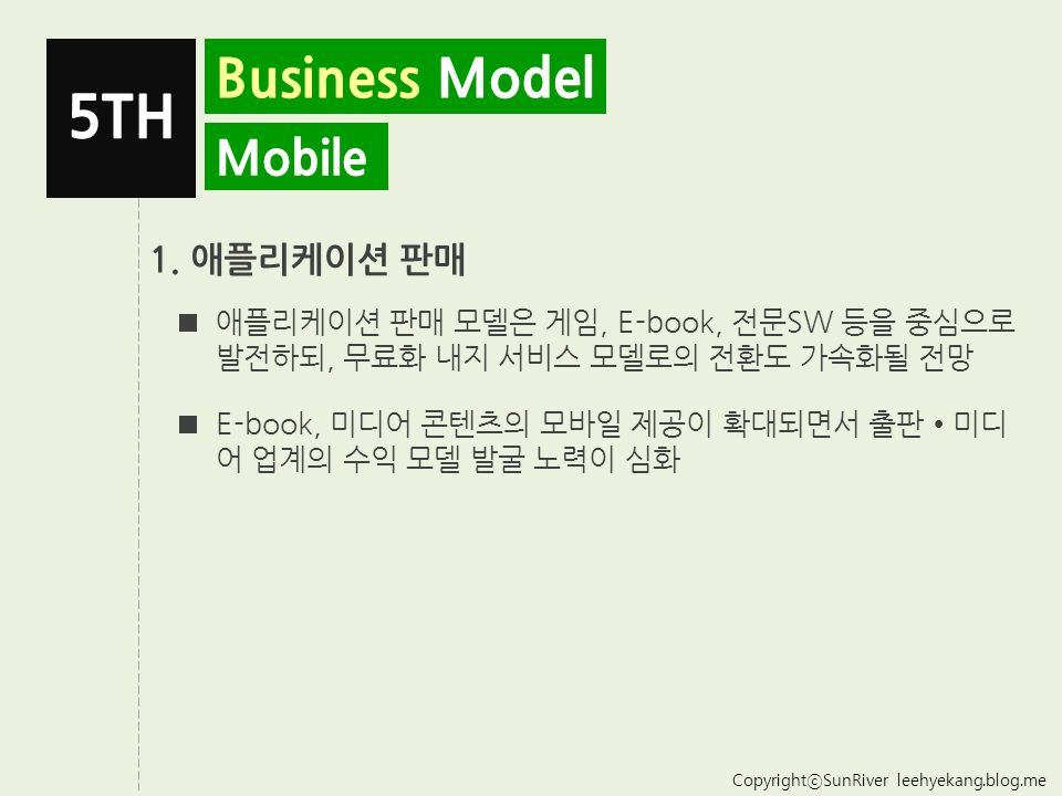 CopyrightⓒSunRiver leehyekang.blog.me Business Model 2.0 5TH 1.