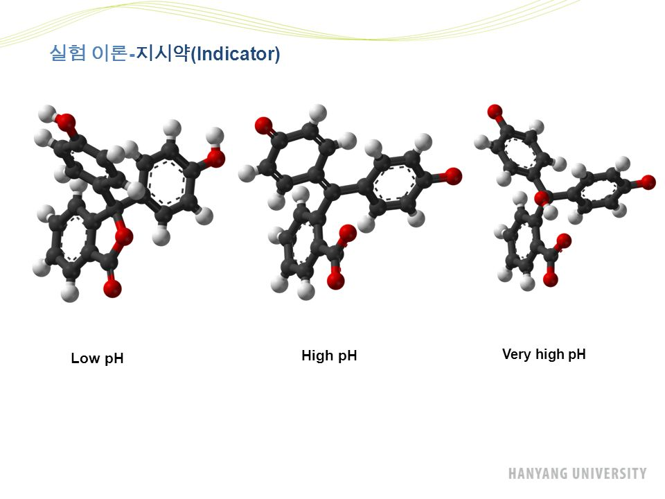실험 이론 - 지시약 (Indicator) Low pH High pH Very high pH
