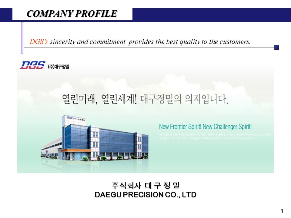 COMPANY PROFILE DGS's sincerity and commitment provides the best quality to the customers.